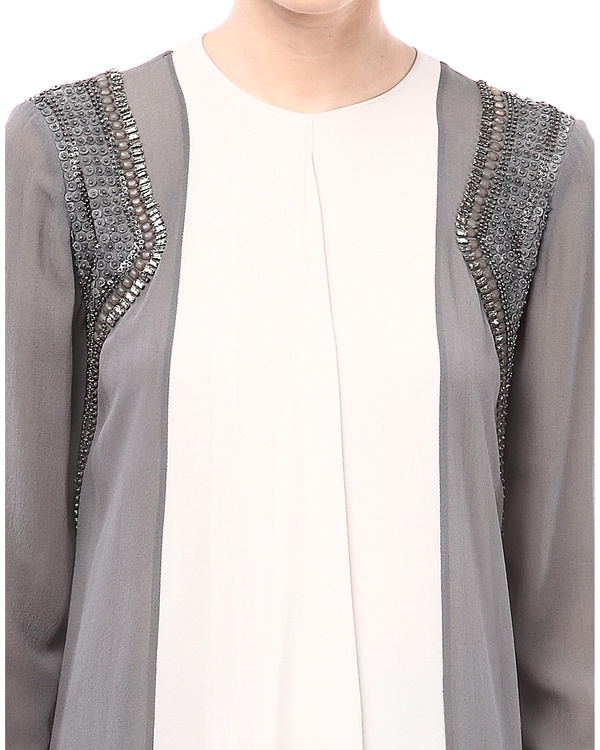 Ash & Beige blouse with embroidered shoulders 1