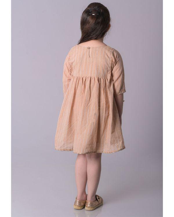 Beige zari striped cotton dress 2