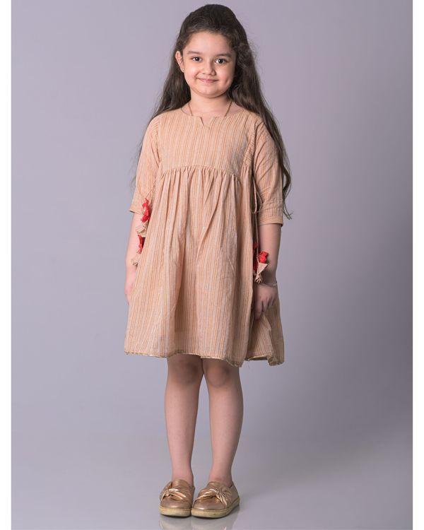 Beige zari striped cotton dress 1