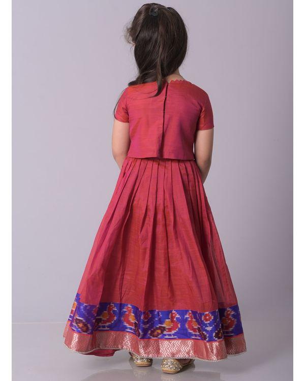 Dark pink silk top with ikkat bordered lehenga - set of two 2