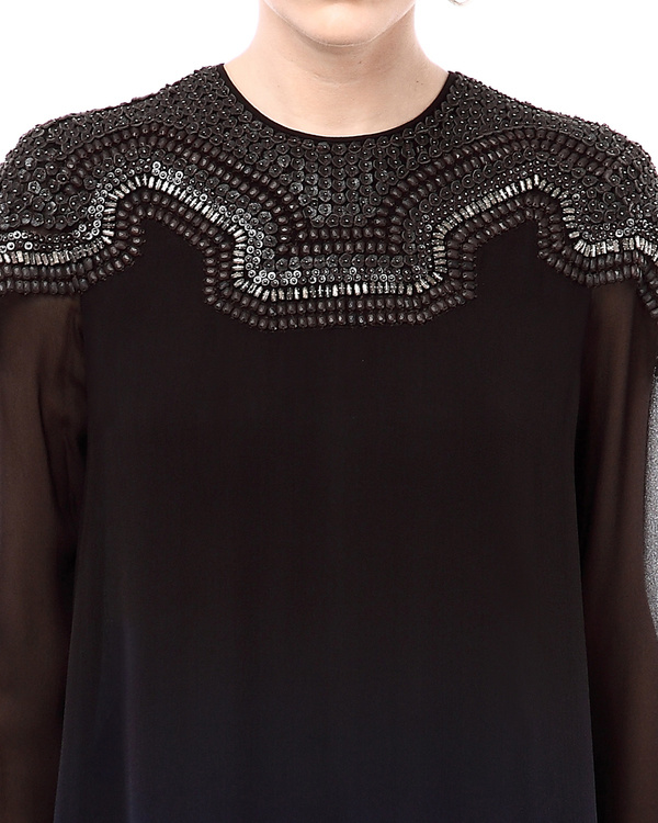 Ombre top with  embellished neckline 1