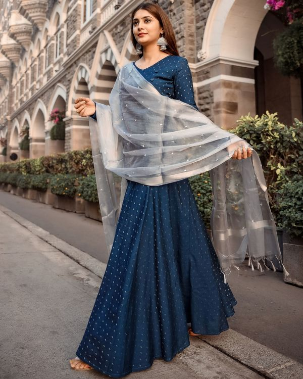 Teal flared dress with tissue mirror work dupatta - set of two 3