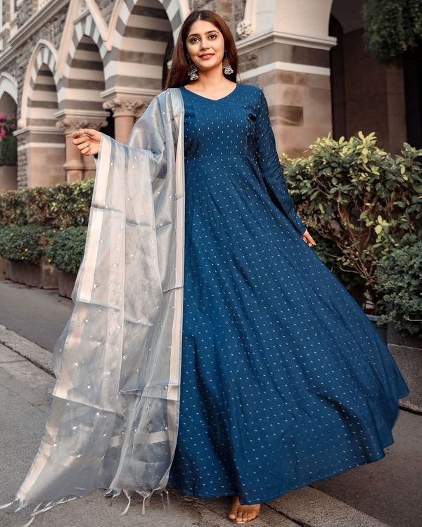 Teal flared dress with tissue mirror work dupatta - set of two 2