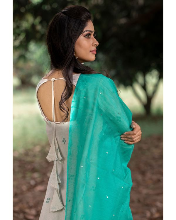Off white organic cotton dress with green dupatta - set of two 2
