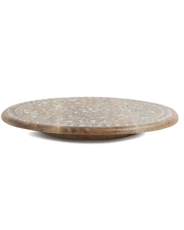 Floral hand carved rotating platter 2