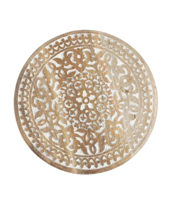 Floral hand carved rotating platter 1