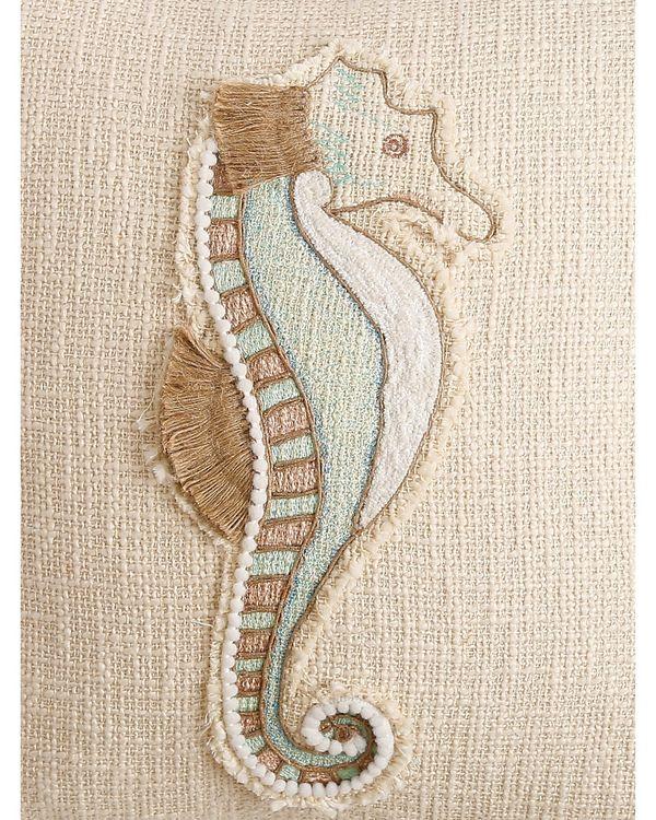 Sea horse embroidered cushion cover 1