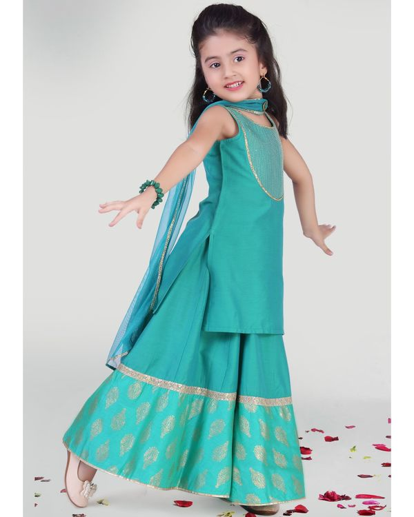 Aqua green kurta with skirt and dupatta - set of three 1