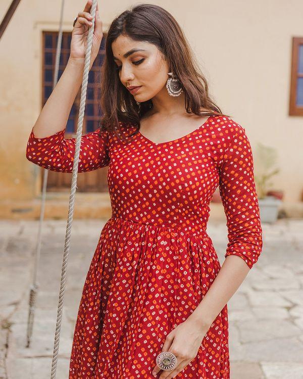 Red bandhani dress 2