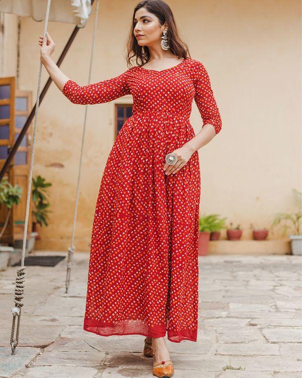 Red bandhani dress 1