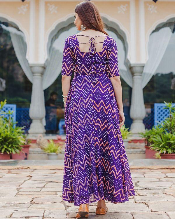 Violet bandhani dress 3