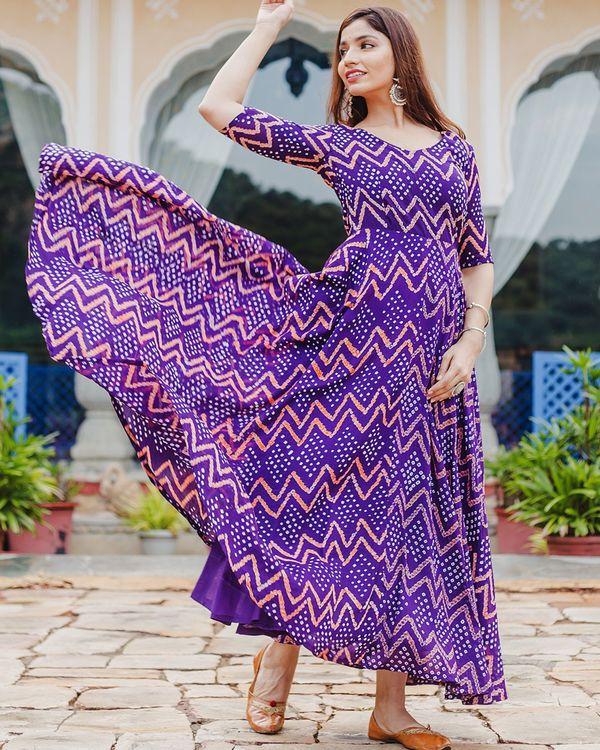Violet bandhani dress 2
