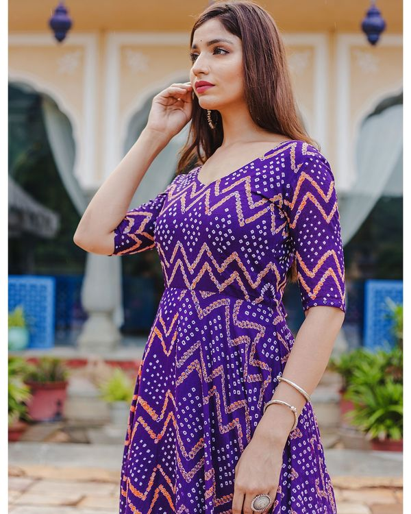 Violet bandhani dress 1