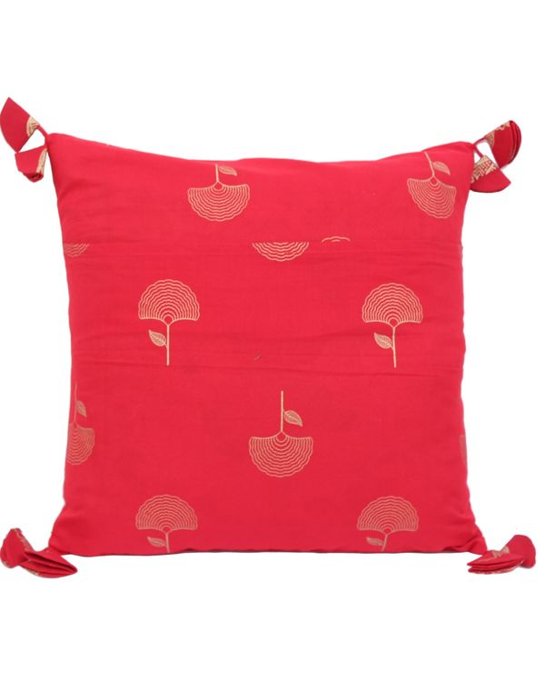 Red and golden motif printed cushion cover - set of two (small) 2