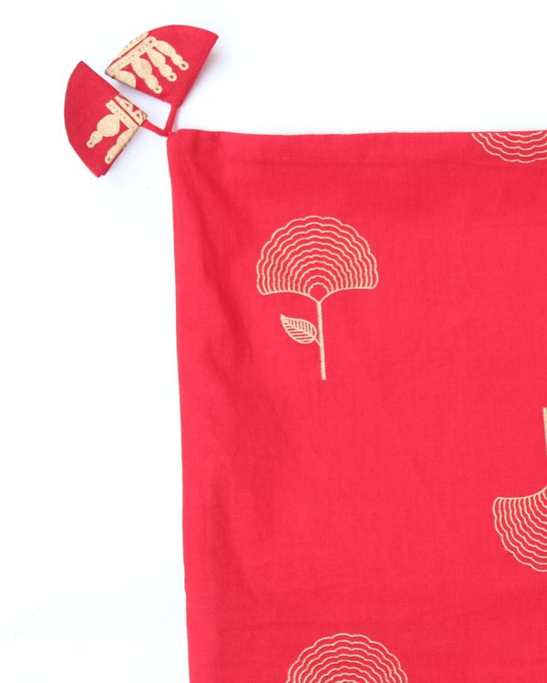 Red and golden motif printed cushion cover - set of two (small) 1