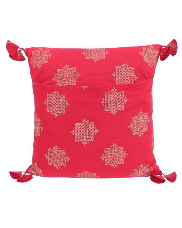 Red and golden jaali printed cushion cover - set of two (small) 2