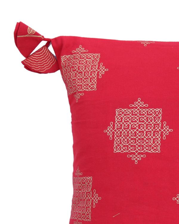Red and golden jaali printed cushion cover - set of two (small) 1