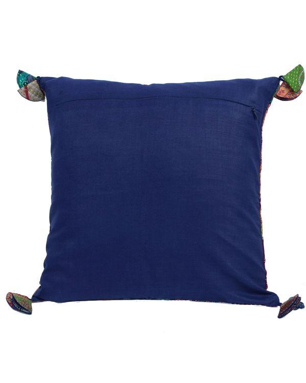 Vintage silk kantha cushion cover - small 2