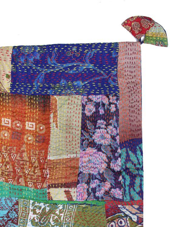 Vintage silk kantha cushion cover - small 1
