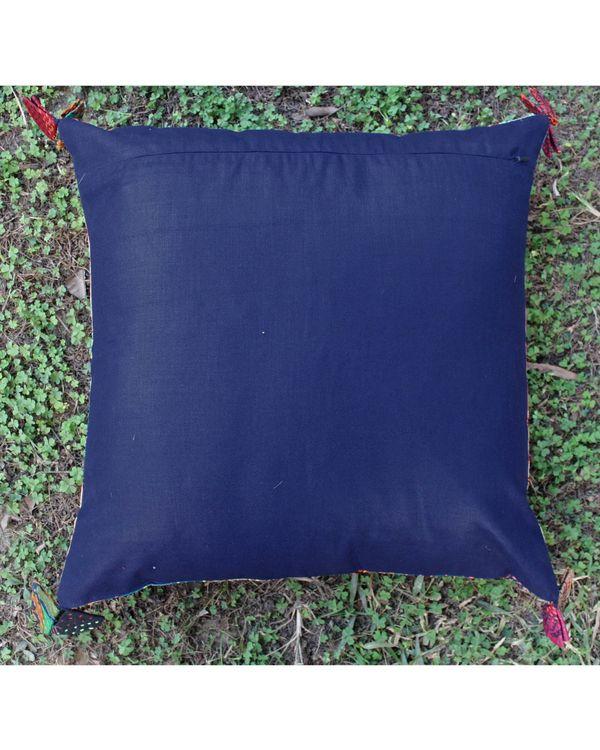Vintage silk kantha cushion cover - large 2
