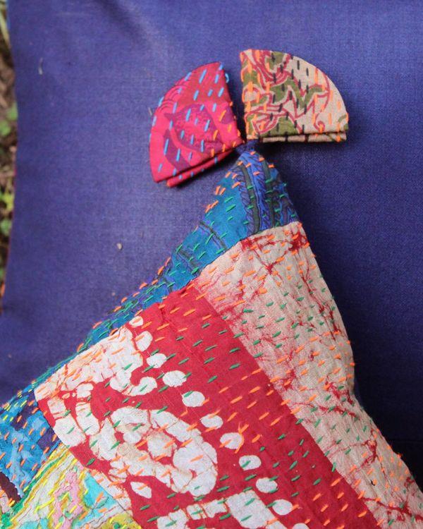 Vintage silk kantha cushion cover - large 1
