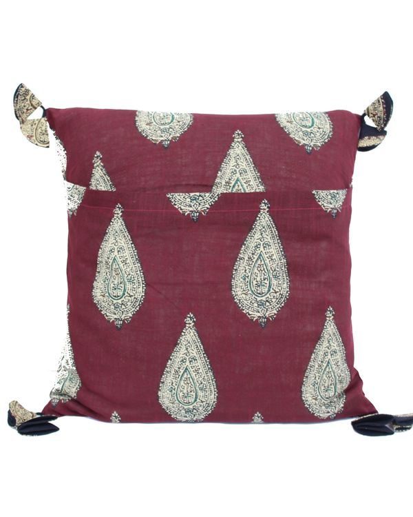 Red kalamkari paisely printed cushion cover - set of two (small) 2