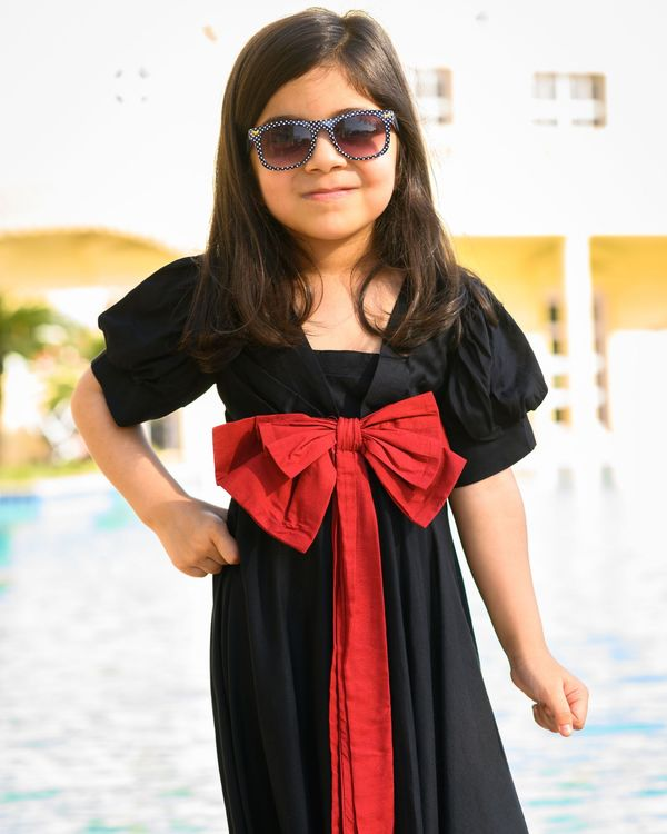 Black flared dress with red bow 2
