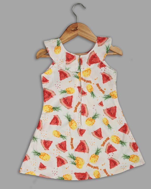 White fruit printed ruffle dress 1