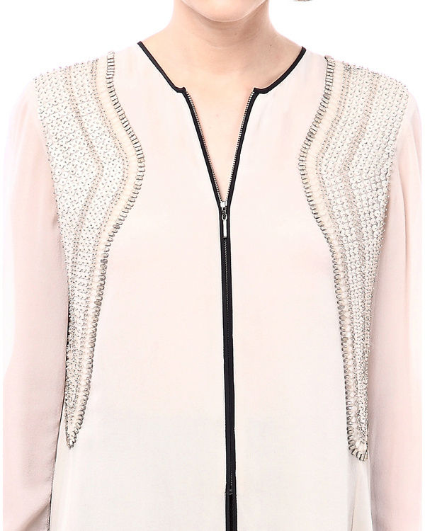 Multi layer high low blouse with front zipper 1