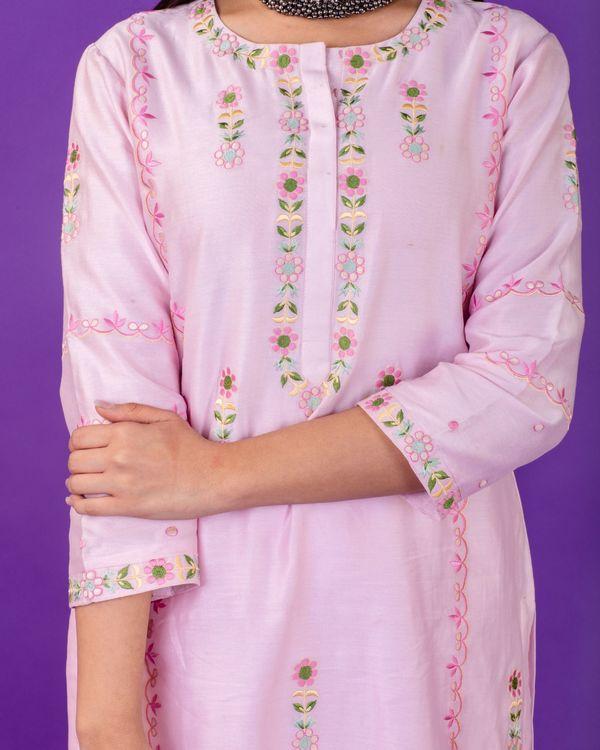 Pink hand emboidered chanderi silk kurta with silk palazzo and organza dupatta - set of three 3