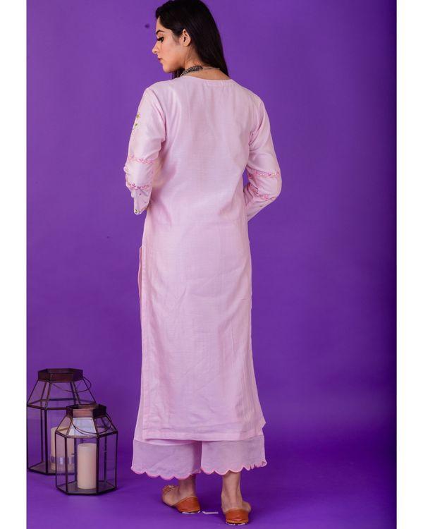 Pink hand emboidered chanderi silk kurta with palazzo - set of two 2