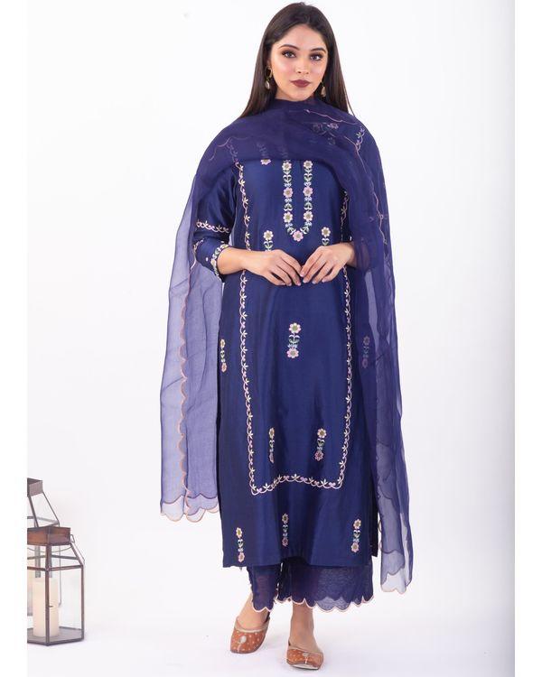 Blue hand embroidered chanderi silk palazzo 2