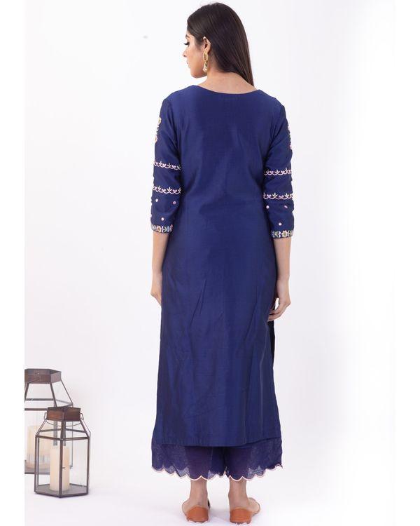 Blue hand embroidered chanderi silk palazzo 1