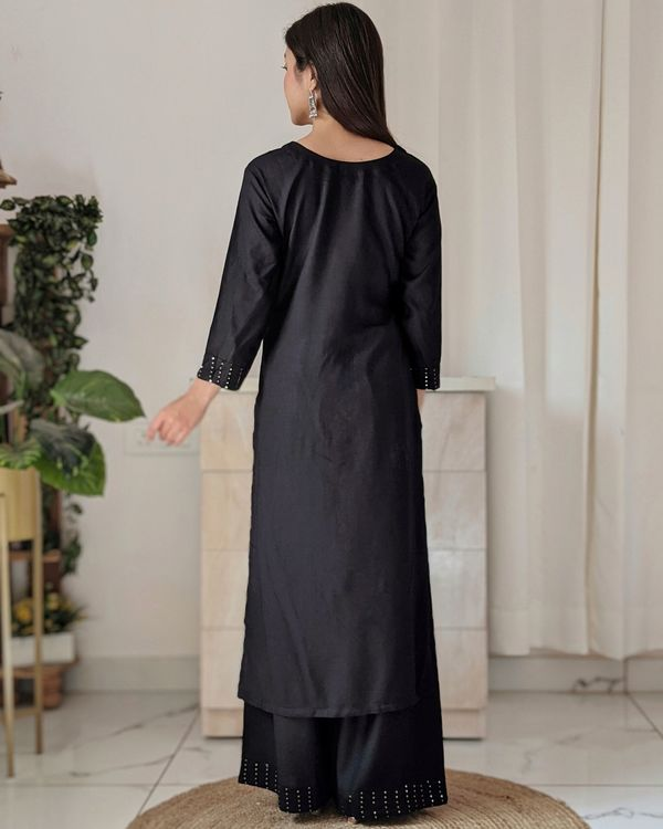 Black sequined kurta and palazzo - set of two 3
