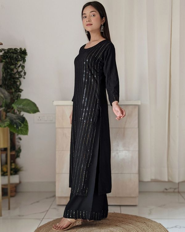 Black sequined kurta and palazzo - set of two 2