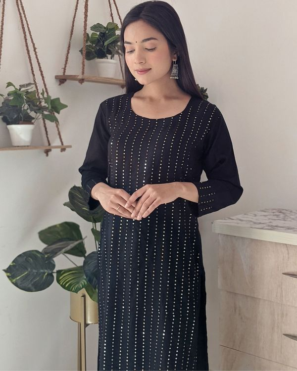 Black sequined kurta and palazzo - set of two 1