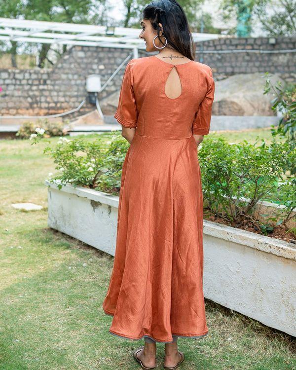 Rust umbrella cut dress with grey printed organza dupatta - set of two 4