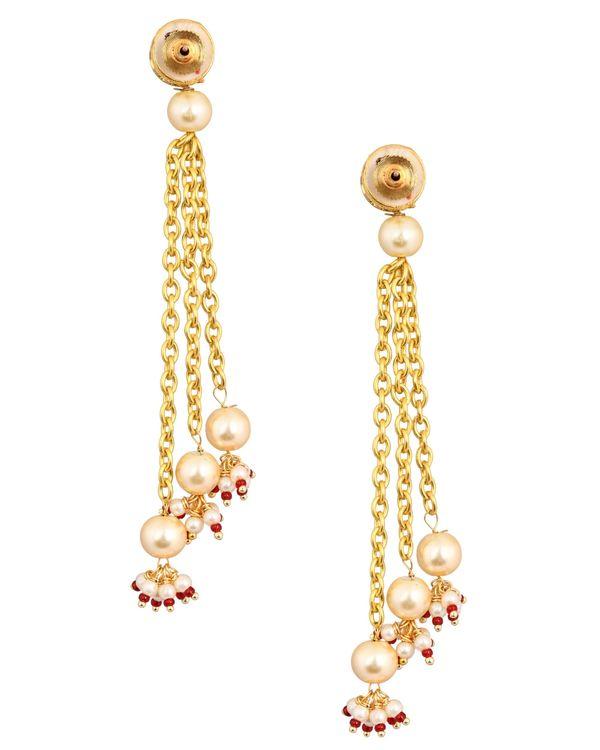 Kundan and pearl chain tassle earring 2
