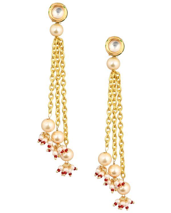 Kundan and pearl chain tassle earring 1