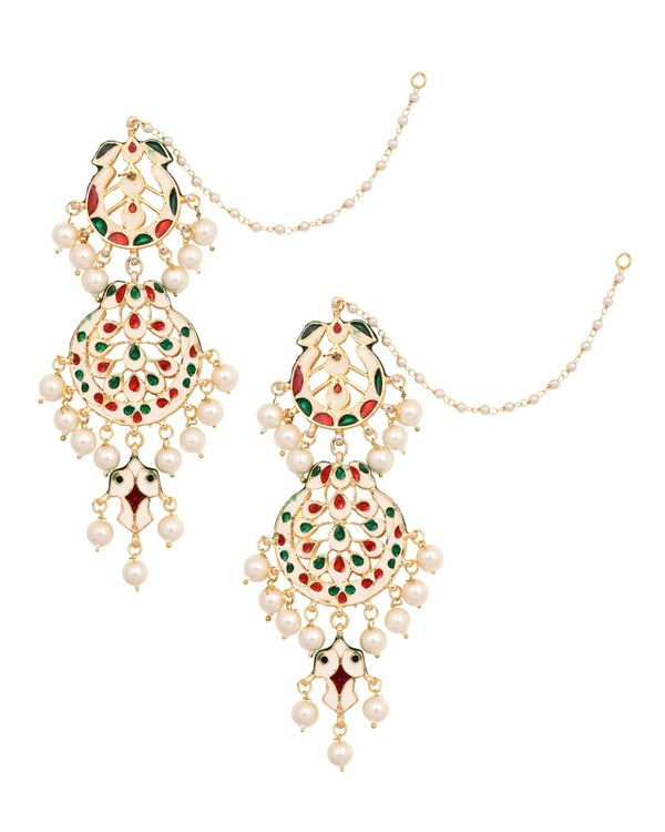 Crescent kundan and pearl beaded earrings with ear chain 2