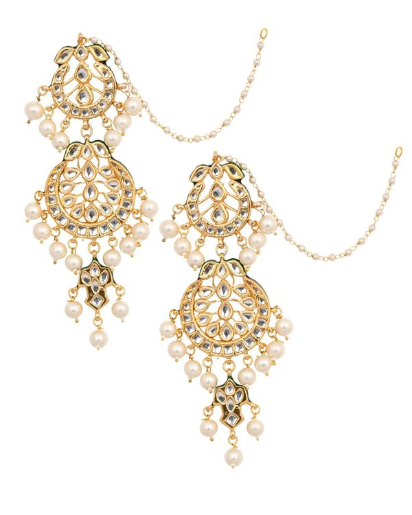 Crescent kundan and pearl beaded earrings with ear chain 1