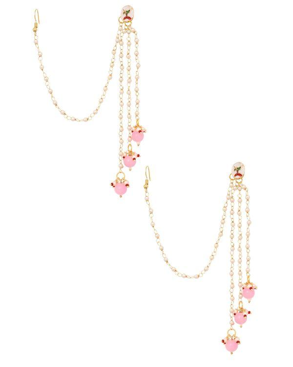 Kundan stone and pink beaded tassel earrings with hair chain 2