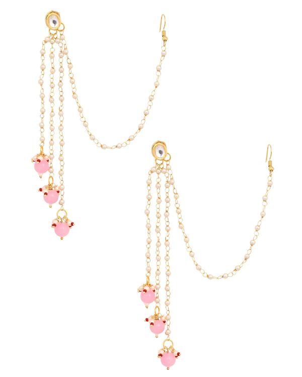 Kundan stone and pink beaded tassel earrings with hair chain 1