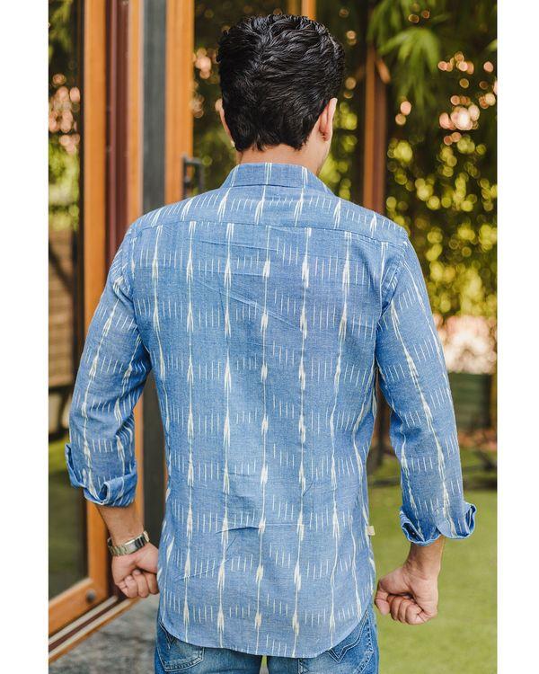 Blue double striped ikat shirt 1