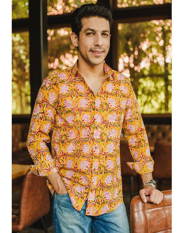 Yellow floral printed shirt 1