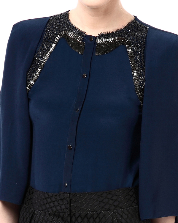 Embroidered shirt with cape sleeves 1
