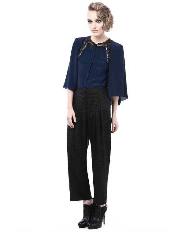 Embroidered shirt with cape sleeves 3
