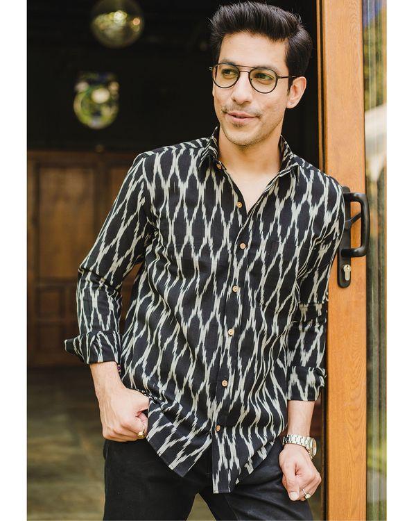 Black honeycomb ikat shirt 1