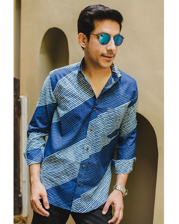 Indigo blue striped  shirt 1