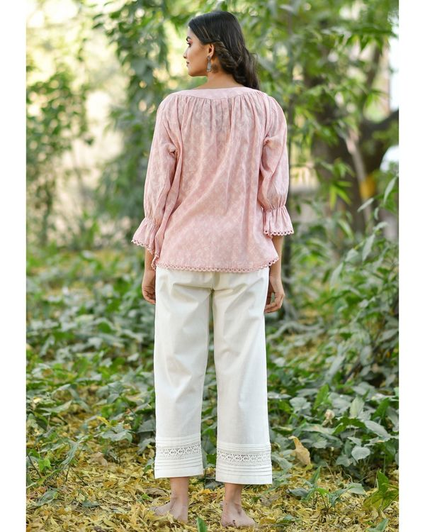 Pink jacquard top with pants - set of two 2